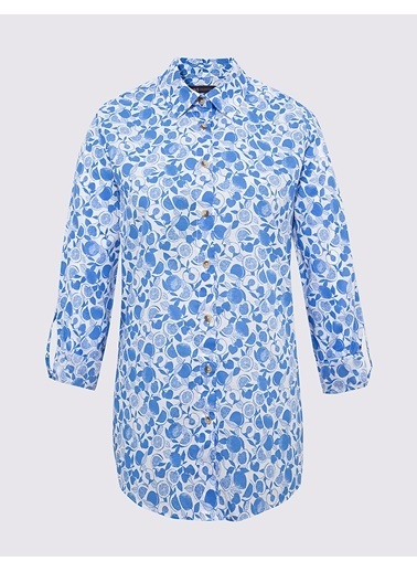 Marks & Spencer Saf Pamuklu Desenli Gömlek Mavi